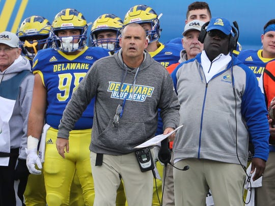 Delaware head coach Danny Rocco watches from the sidelines in the first quarter at Delaware Stadium Saturday.