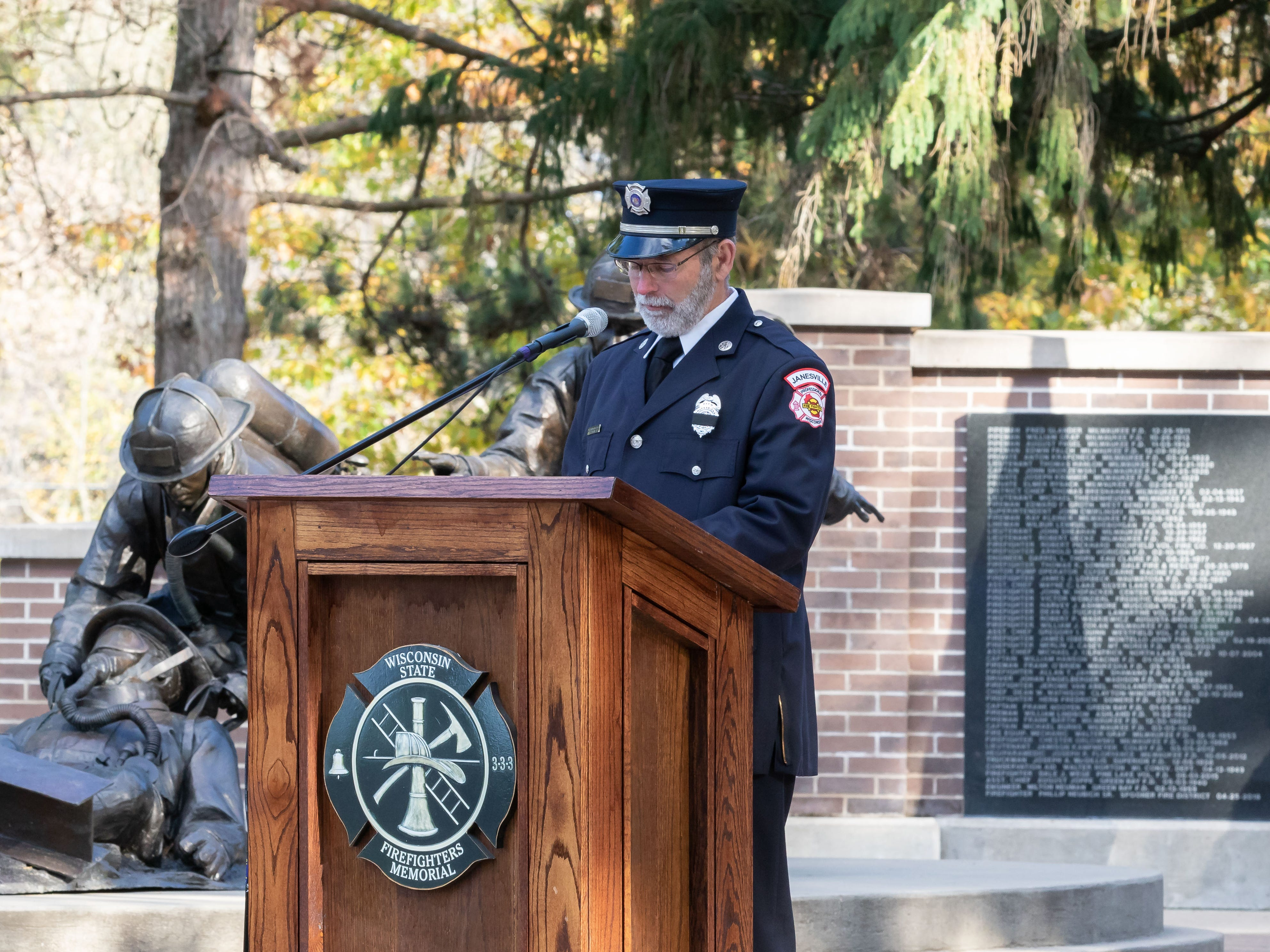 Fallen firefighters from Wisconsin were honored during the annual Final Alarm and Roll Call Ceremony on Saturday, Oct. 13, 2018, at the Wisconsin State Firefighters Memorial in Wisconsin Rapids.
