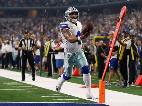 Dallas Cowboys quarterback Dak Prescott (4) runs into the end zone for a touchdown in the first half of an NFL football game against the Jacksonville Jaguars in Arlington, Texas, Sunday, Oct. 14, 2018. (AP Photo/Ron Jenkins)