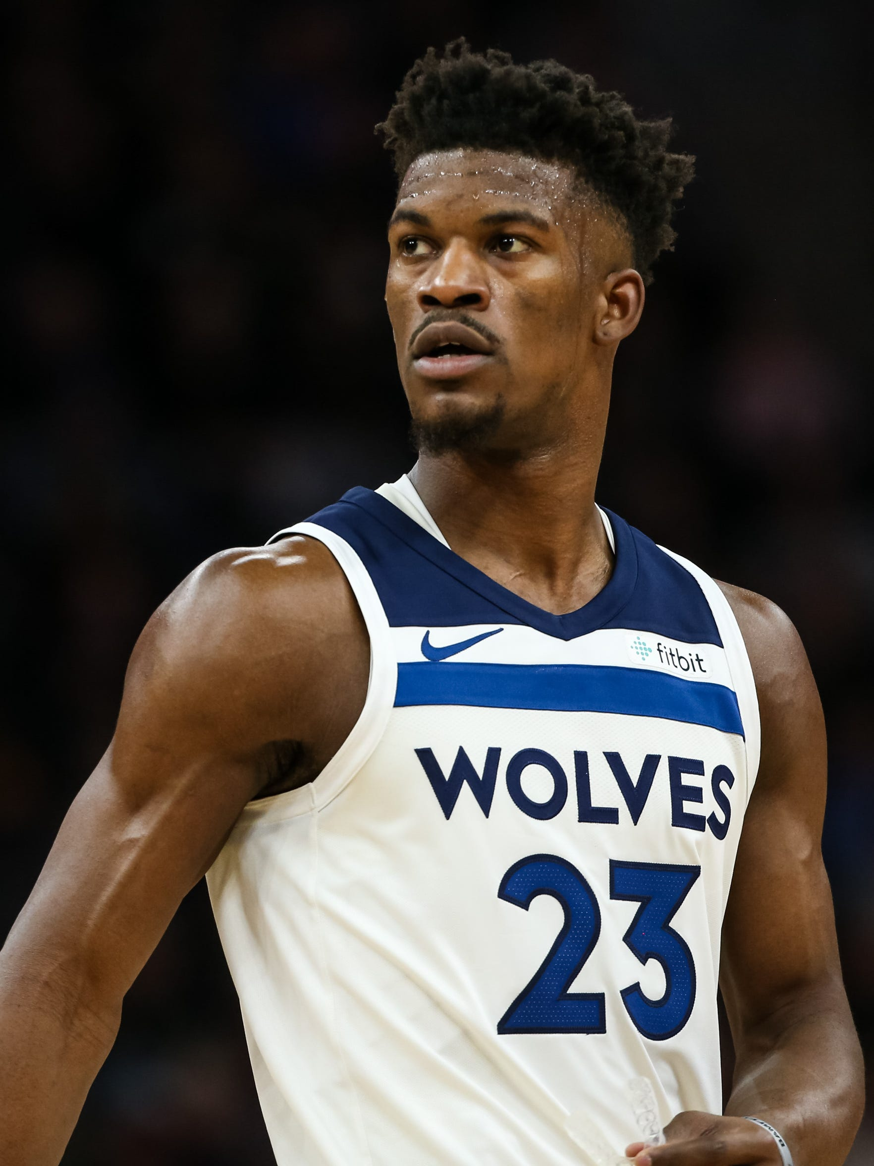 Minnesota Timberwolves guard Jimmy Butler during a game between the Minnesota Timberwolves and Los Angeles Lakers at Target Center.