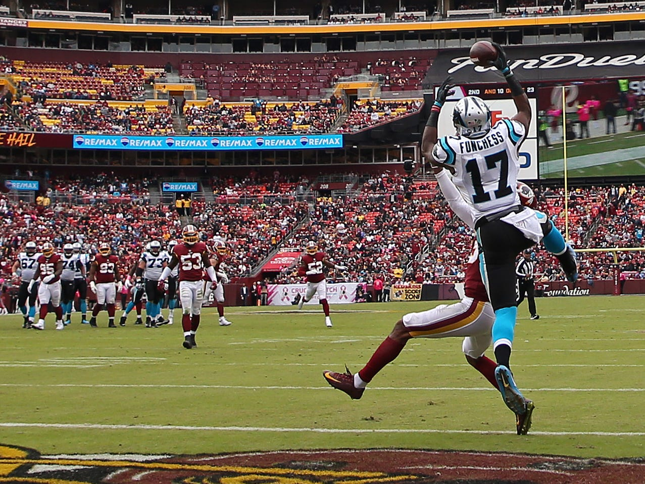 Carolina Panthers wide receiver Devin Funchess catches a touchdown pass over Washington Redskins cornerback Quinton Dunbar in the second quarter at FedEx Field.