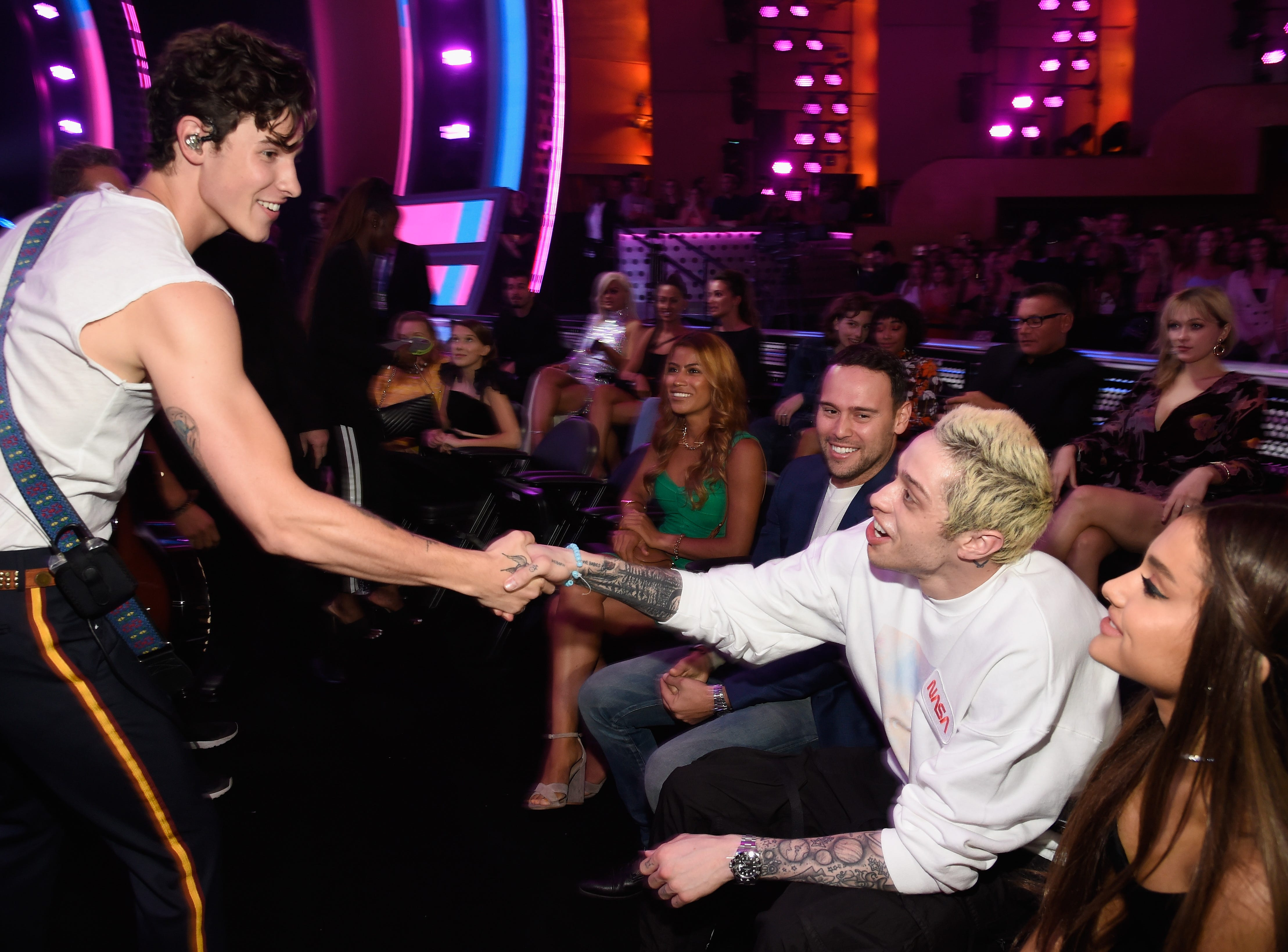 NEW YORK, NY - AUGUST 20: Shawn Mendes performs with Pete Davidson and Ariana Grande in the a during the 2018 MTV Video Music Awards at Radio City Music Hall on August 20, 2018 in New York City.  (Photo by Kevin Mazur/WireImage) ORG XMIT: 775211585 ORIG FILE ID: 1020327378