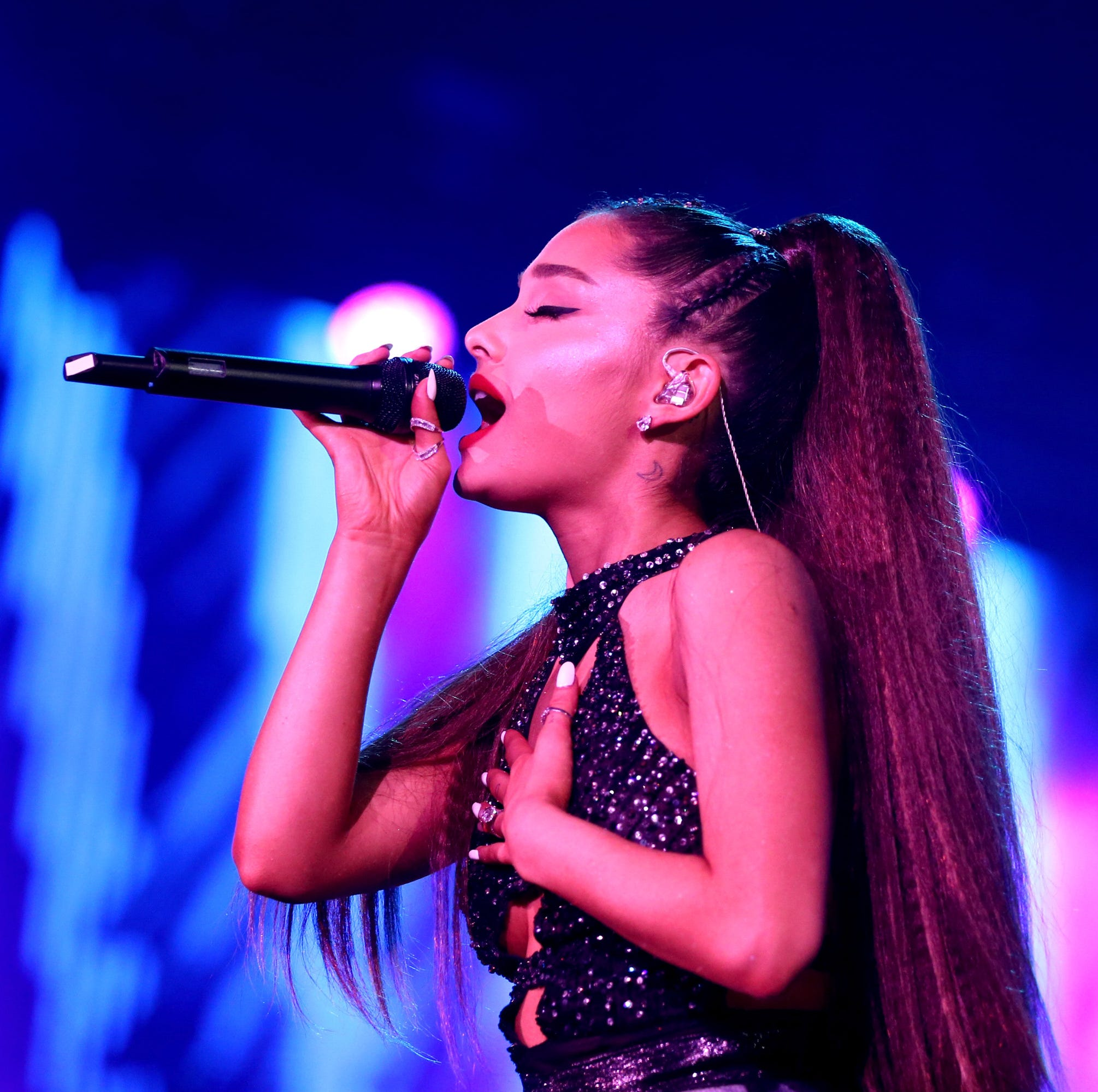 LOS ANGELES, CA - JUNE 02:  (EDITORIAL USE ONLY. NO COMMERCIAL USE) Ariana Grande performs onstage during the 2018 iHeartRadio Wango Tango by AT&T at Banc of California Stadium on June 2, 2018 in Los Angeles, California.  (Photo by Rich Polk/Getty Images for iHeartMedia ) ORG XMIT: 775172379 ORIG FILE ID: 966544726