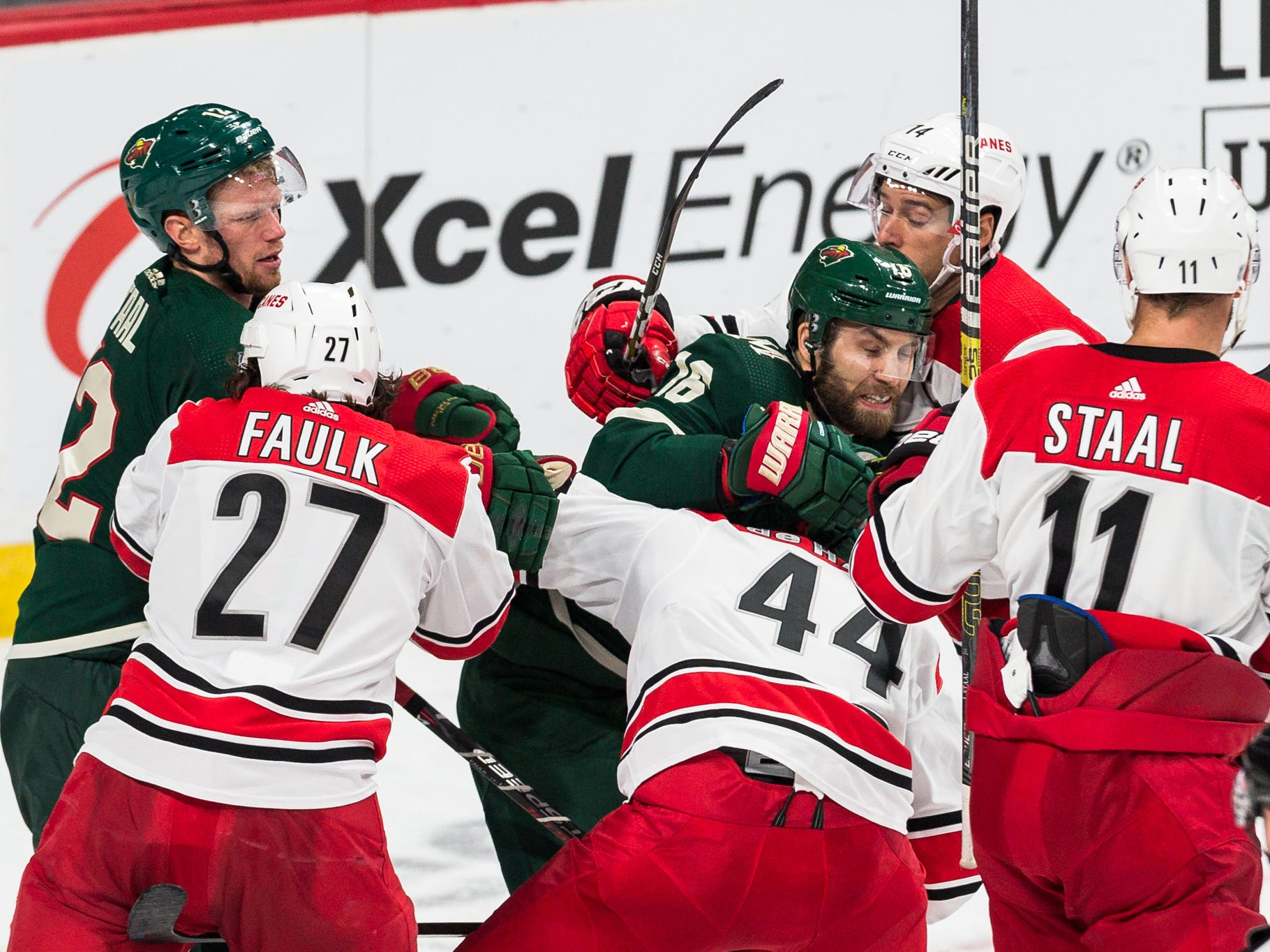 Oct 13: Multiple fights breakout between the Wild and Hurricanes