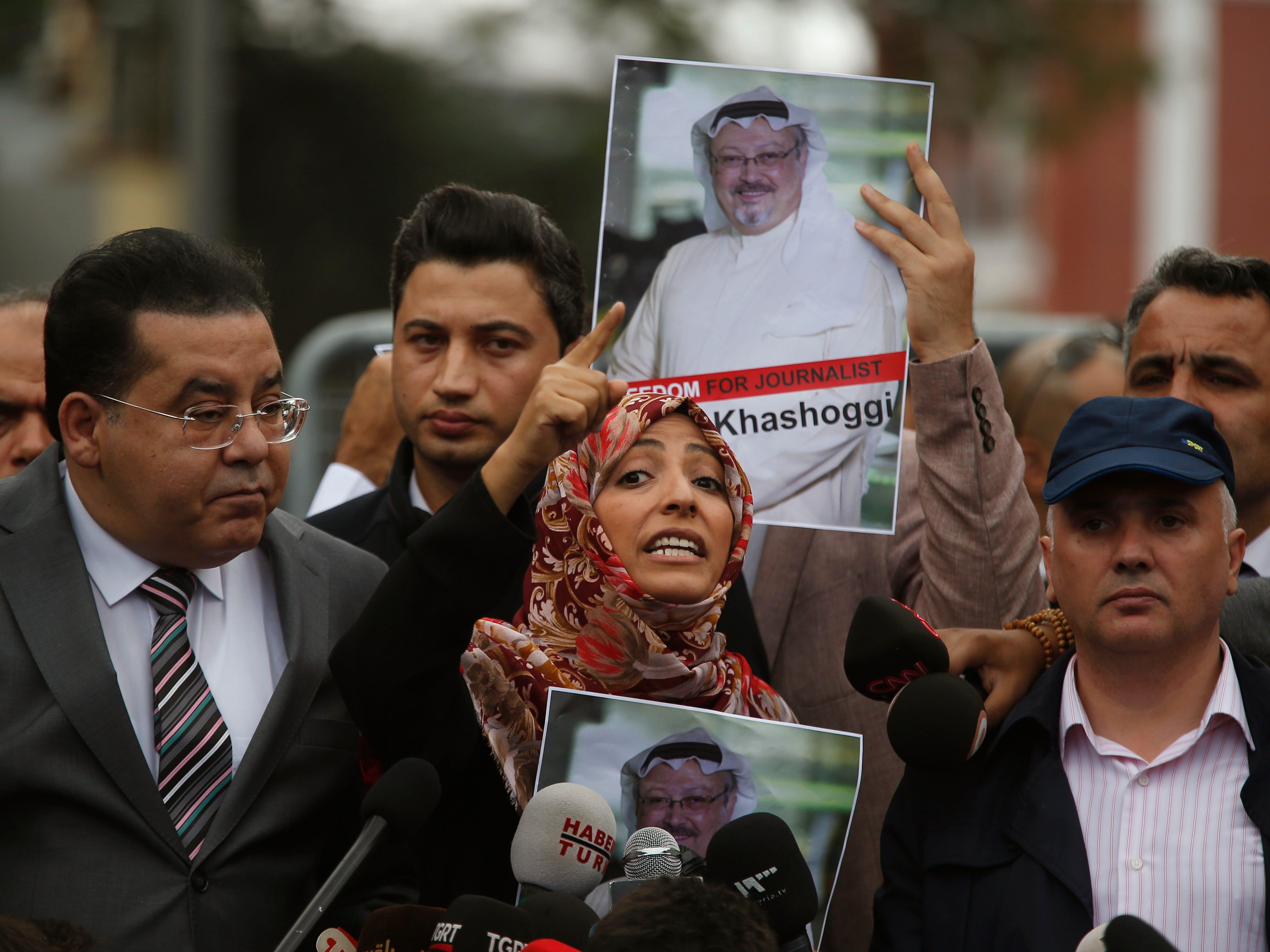 Tawakkol Karman, the Nobel Peace Prize laureate for 2011, gestures as she talks to members of the media about the disappearance of Saudi writer Jamal Khashoggi, near the Saudi Arabia consulate in Istanbul, Monday, Oct. 8, 2018.