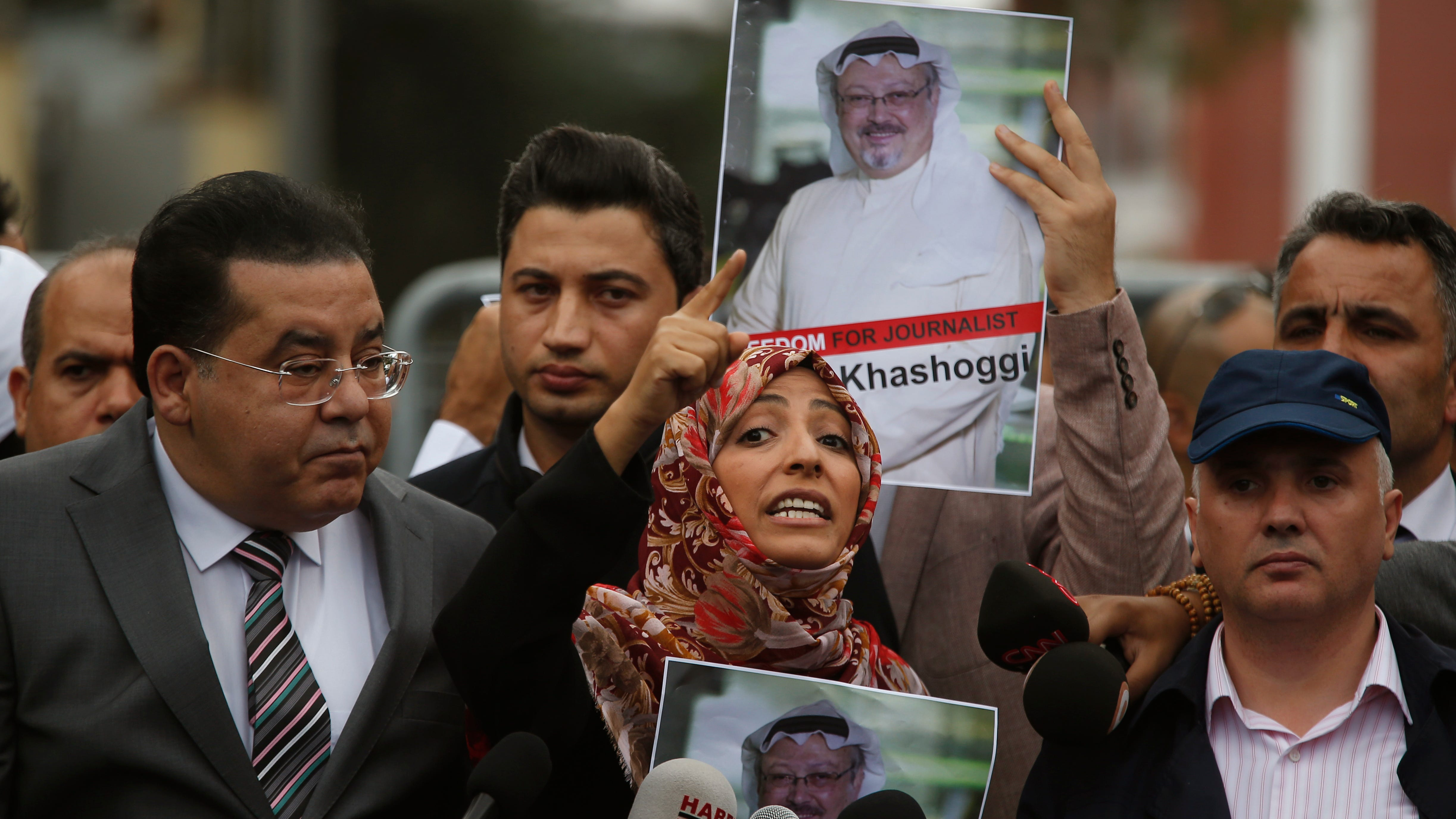 Tawakkol Karman, the Nobel Peace Prize laureate for 2011, gestures as she talks to members of the media about the disappearance of Saudi writer Jamal Khashoggi, near the Saudi Arabia consulate in Istanbul, Monday, Oct. 8, 2018.