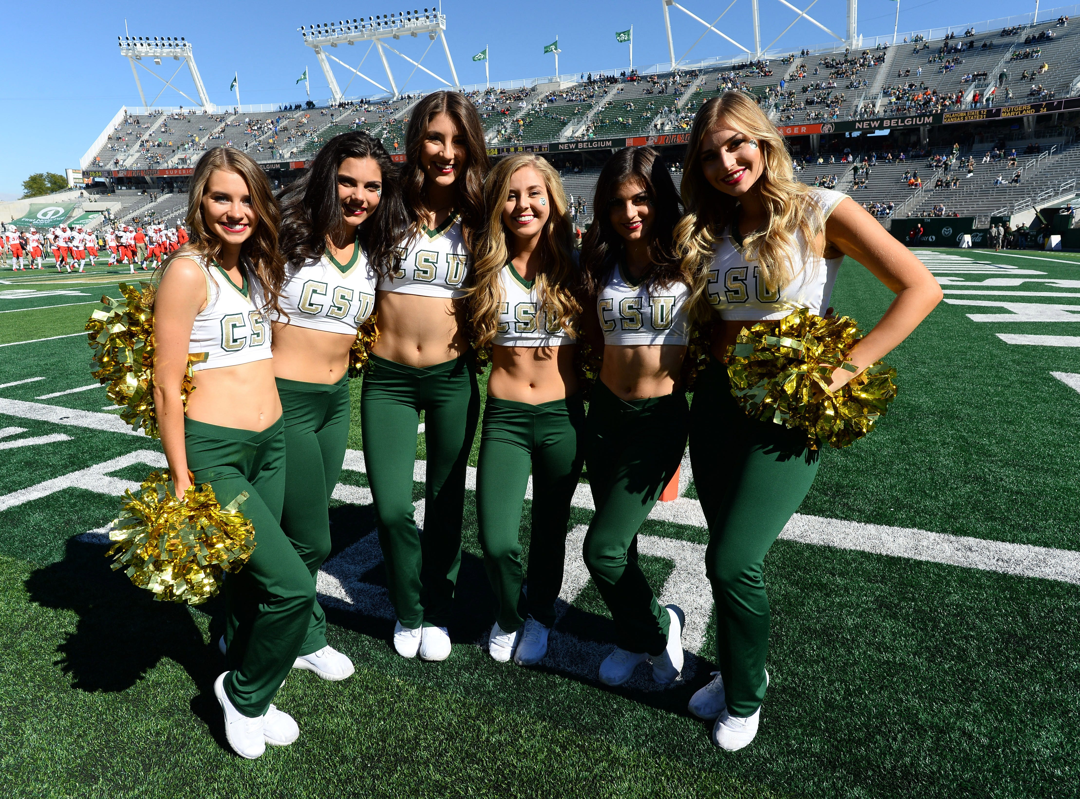 Week 7: Colorado State Rams dance team members pose for a photo before the game against the New Mexico Lobos at Canvas Stadium.