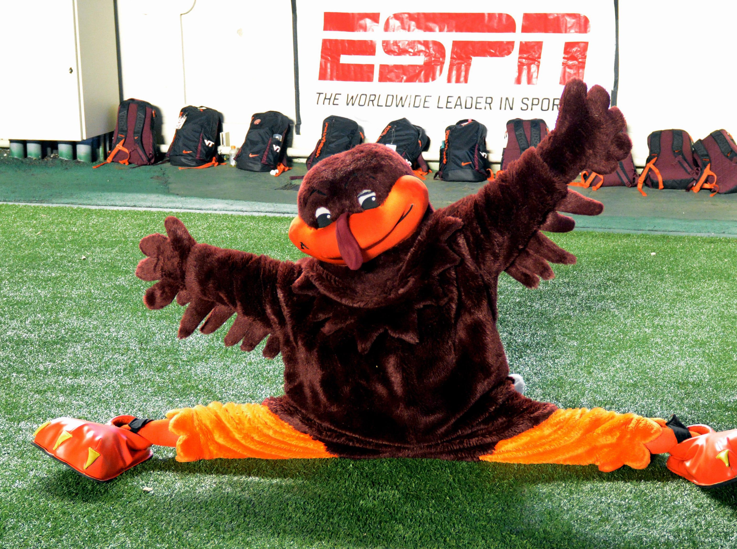 Week 7: The Virginia Tech Hokies mascot performs during the second half at Kenan Memorial Stadium.