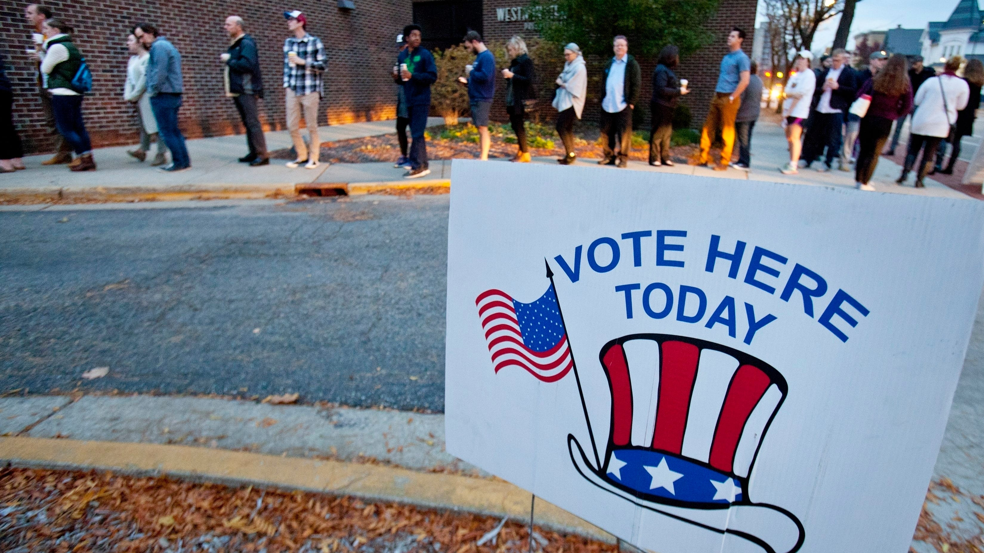 Voters line up to cast their ballot at Westminster Presbyterian Church in Grand Rapids, Mich., on Nov. 8, 2016.