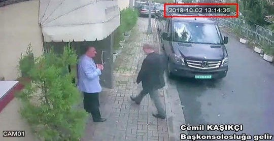 This image taken from CCTV video obtained by the Turkish newspaper Hurriyet and made available on Oct. 9, 2018, claims to show Saudi journalist Jamal Khashoggi entering the Saudi consulate in Istanbul, Tuesday, Oct. 2, 2018.