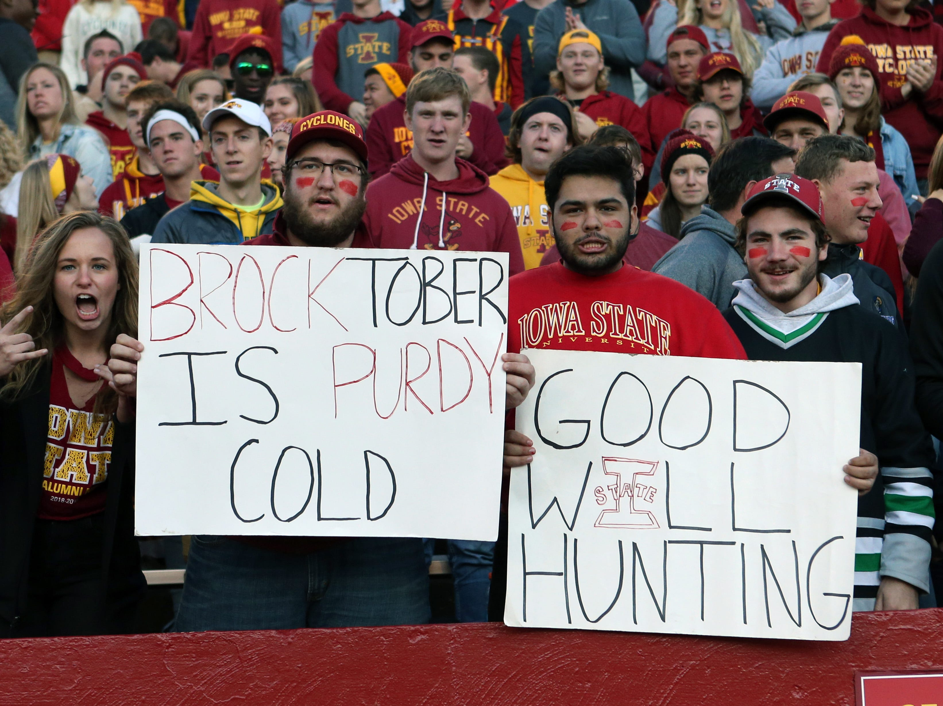 Week 7: Iowa State Cyclones fans show their support for quarterback Brock Purdy and poke fun at West Virginia Mountaineers QB Will Grier.