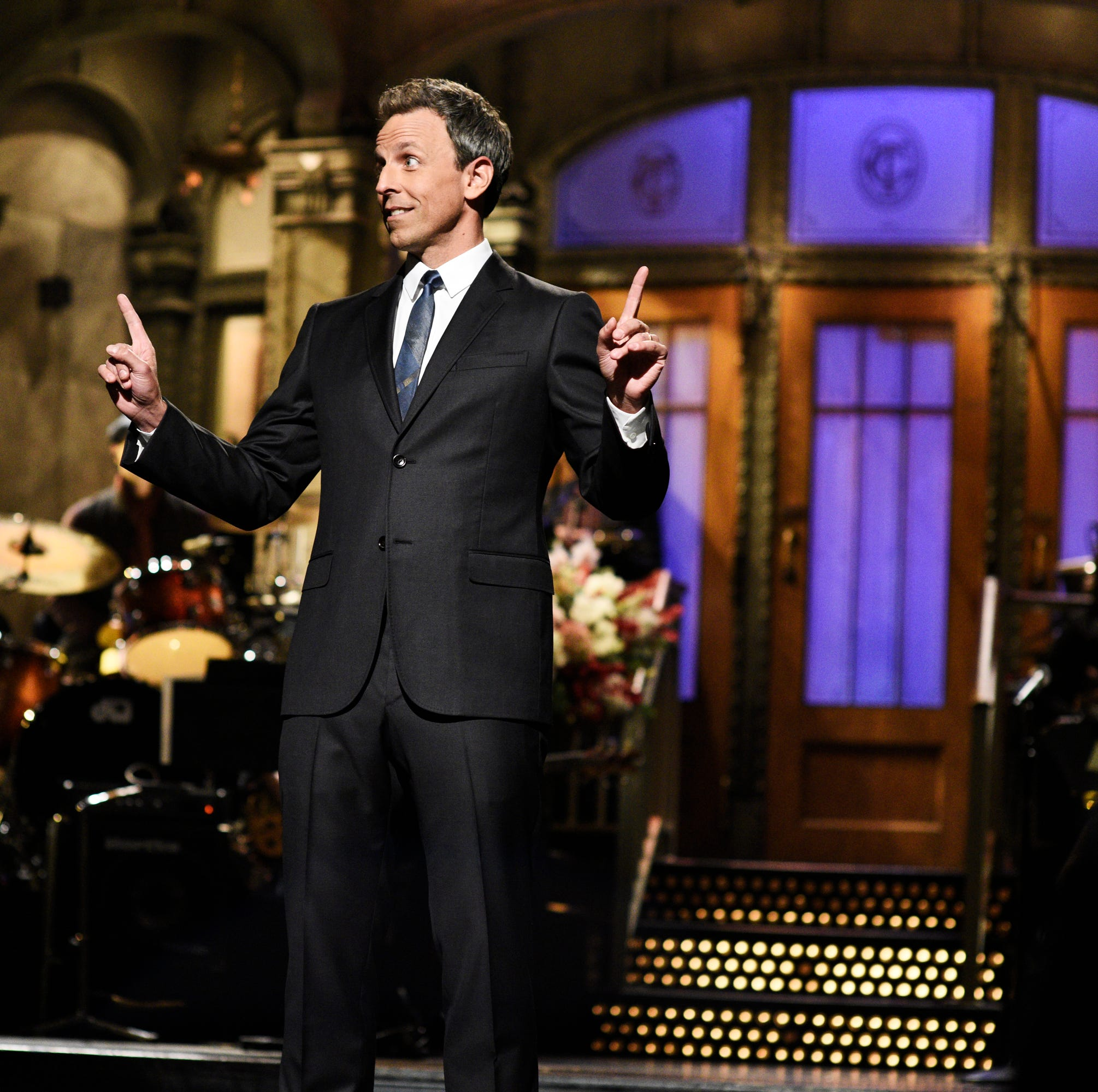 "SATURDAY NIGHT LIVE -- ""Seth Meyers"" Episode 1749 -- Pictured: Seth Meyers during the opening monologue in Studio 8H on Saturday, October 13, 2018 -- (Photo by: Will Heath/NBC)"