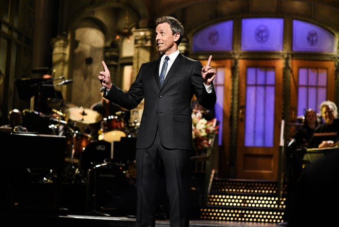 """SATURDAY NIGHT LIVE -- """"Seth Meyers"""" Episode 1749 -- Pictured: Seth Meyers during the opening monologue in Studio 8H on Saturday, October 13, 2018 -- (Photo by: Will Heath/NBC)"""