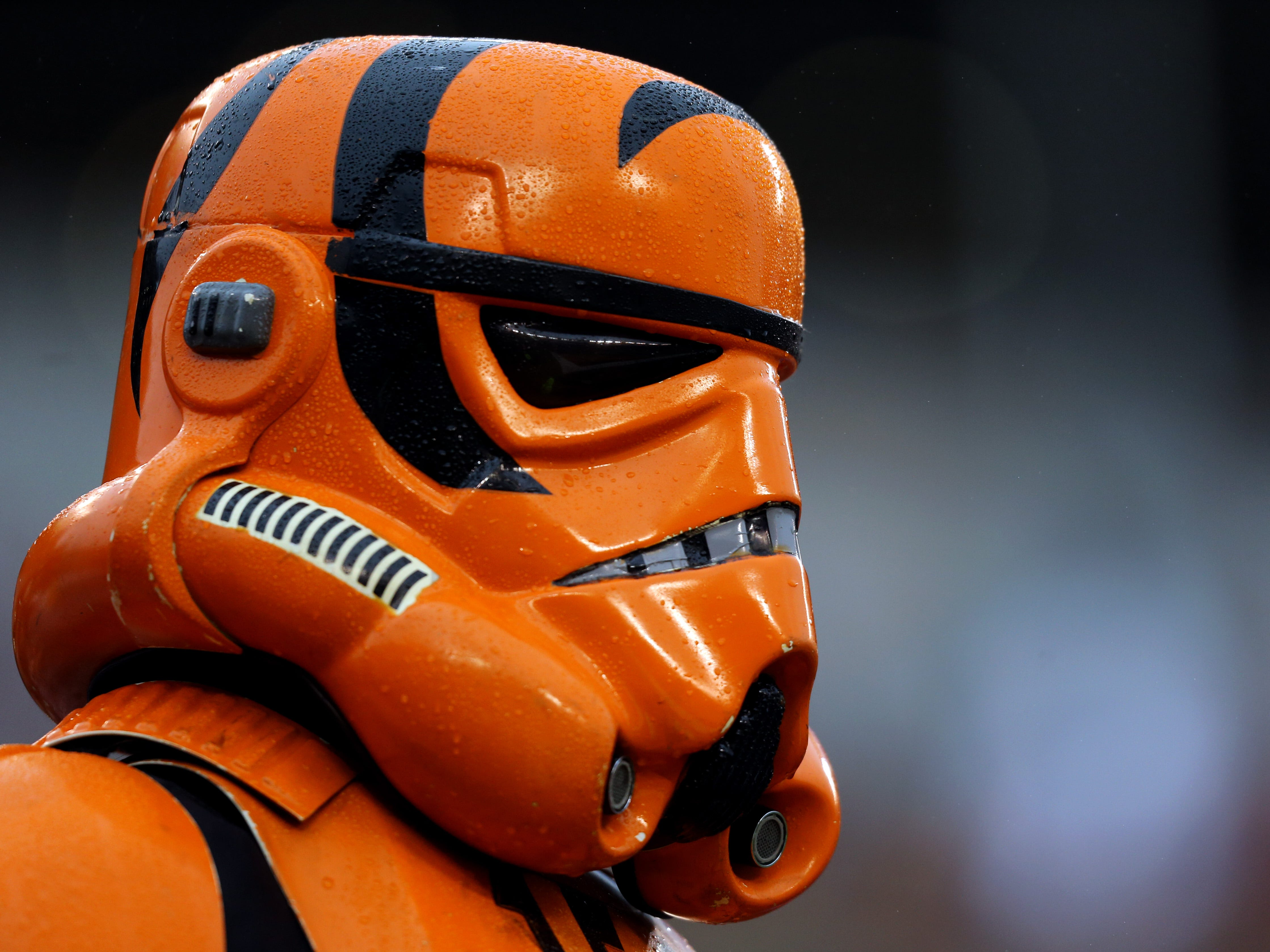 "A fan dressed as a Bengals themed ""Star Wars"" Stormtrooper during the game of the Pittsburgh Steelers against the Cincinnati Bengals at Paul Brown Stadium."