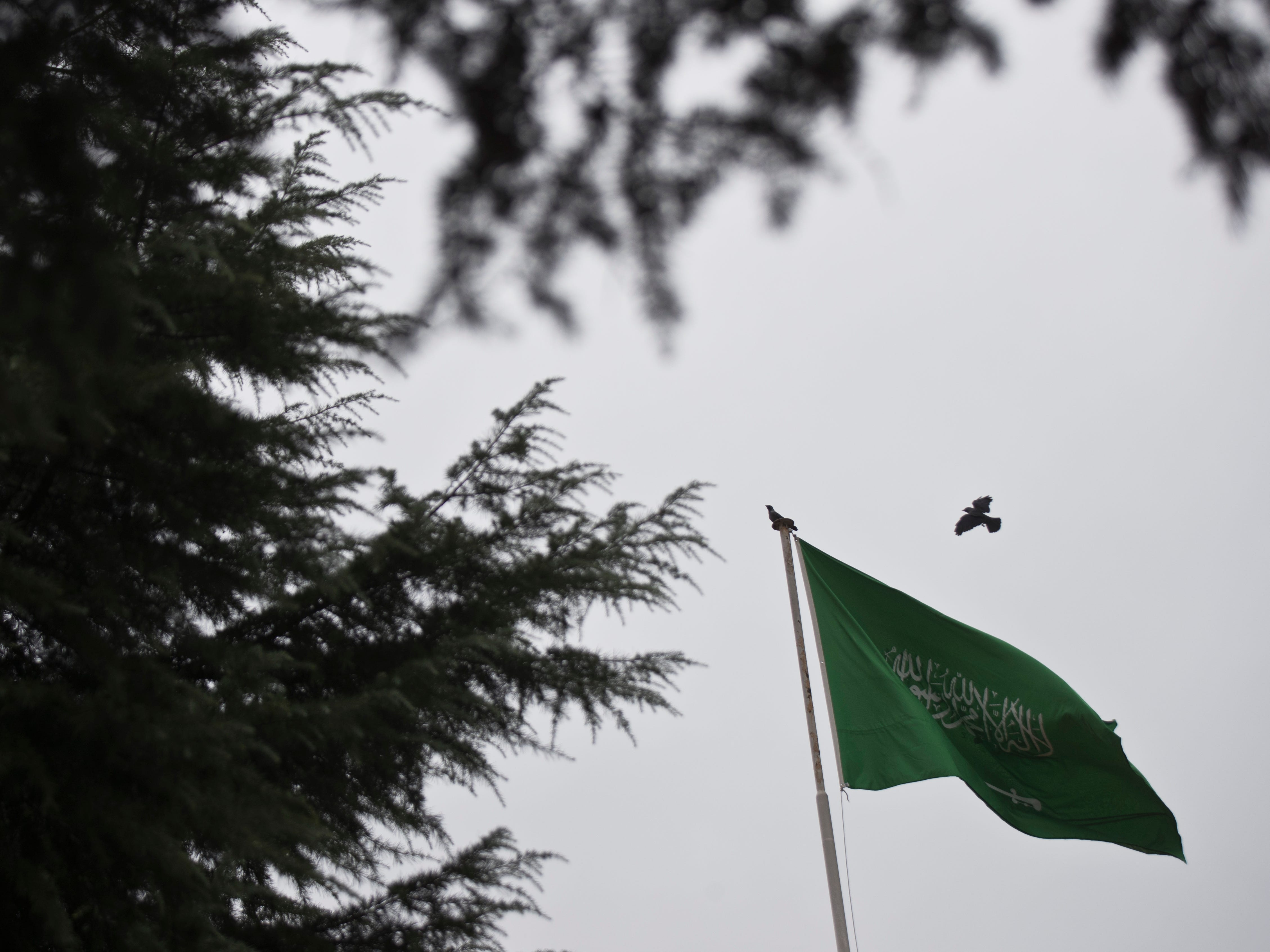 A bird flies next to Saudi Arabia's flag at the roof top of their consulate building in Istanbul, Sunday, Oct. 14, 2018. Veteran Saudi journalist Jamal Khashoggi disappeared over a week ago while on a visit to the Saudi Consulate in Istanbul, sparking an international uproar involving the kingdom, Turkey and the United States that remains unresolved.