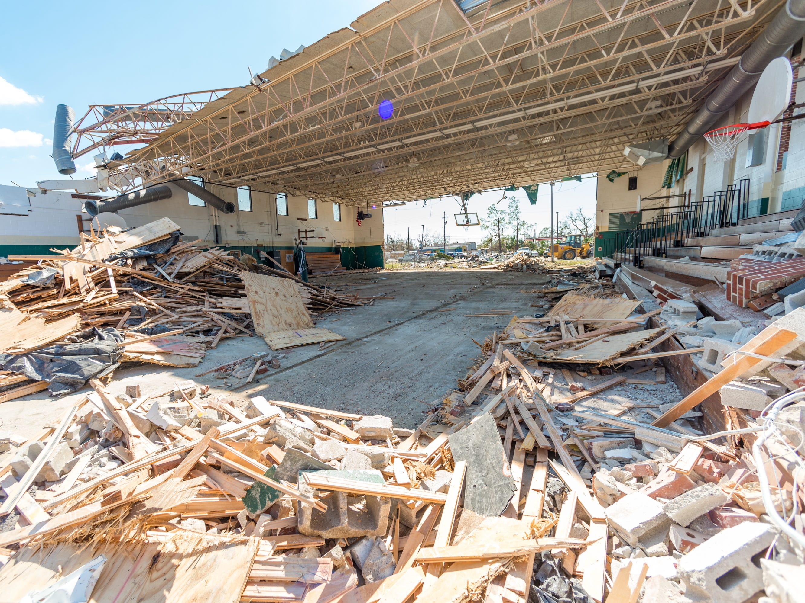 Jinks Middle School gym in Panama City, Fla. was heavily damaged by Hurricane Michael, Oct. 14, 2018.