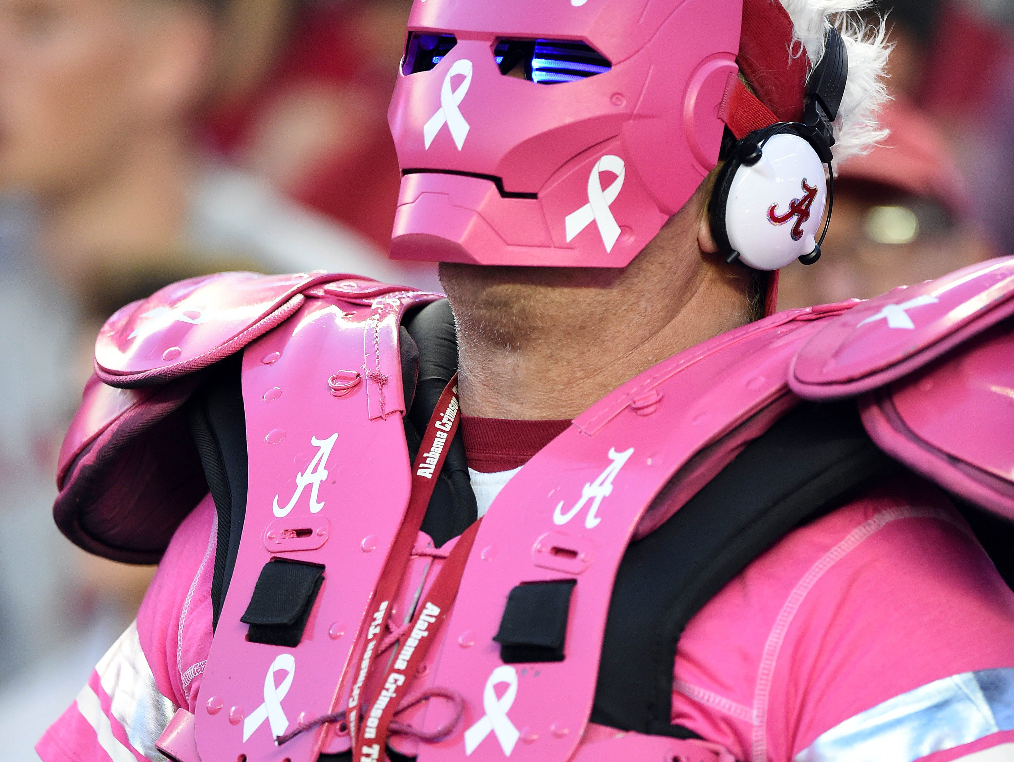 Week 7: An Alabama Crimson Tide fan wears pink for Breast Cancer Awareness Month.
