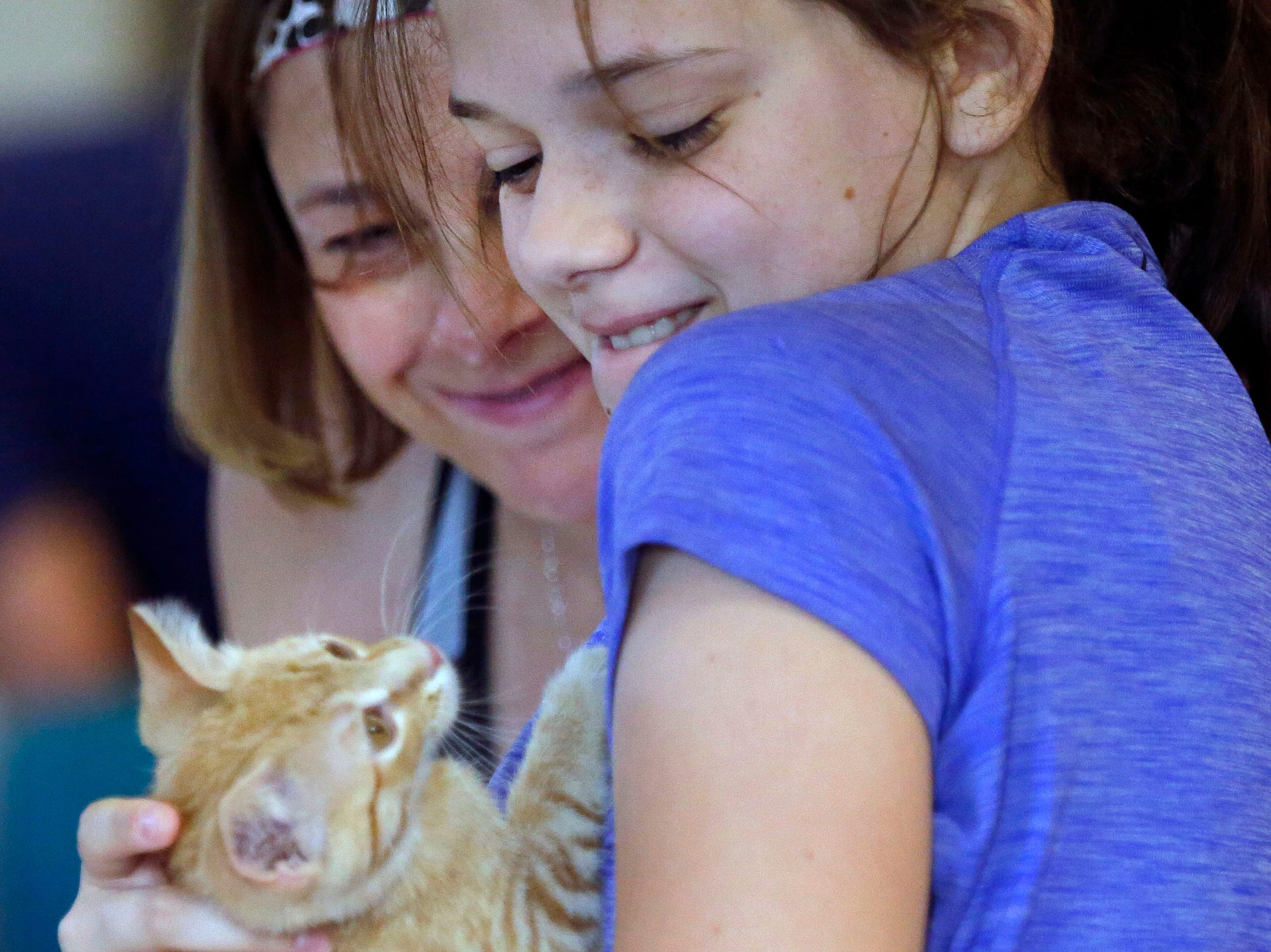 Emmy Vanden Langenberg plays with a kitten while her mother, Cyndi, looks on as the Fox Valley Humane Association and Grace Under Fire Yoga bring together adoptable kittens and yoga class for Kitten Yoga on Saturday, Oct. 13, 2018, at the Fox Valley Humane Association in Appleton, Wis.