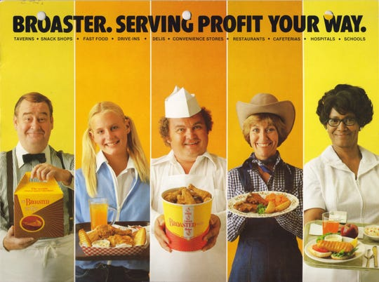 Before breaking out as a big movie star, Daryl Hannah (second from left), was among the models used in this Broaster advertisement.