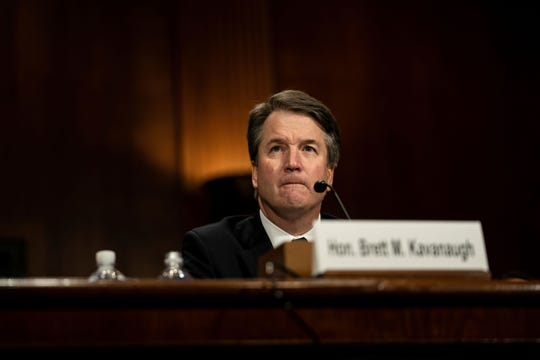 Supreme Court nominee Brett Kavanaugh defends himself before the Senate Judiciary Committee on Thursday.   Pool photo by Erin Schaff Supreme Court nominee Brett Kavanaugh testifies before the Senate Judiciary Committee on Capitol Hill, Thursday.