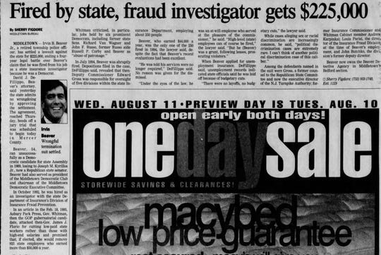 An Asbury Park Press archive article reports on Irvin Beaver's settlement with the state.