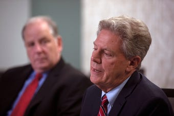 U.S. Frank Pallone, D-N.J., debates with his Republican challenger, Rich Pezzullo.