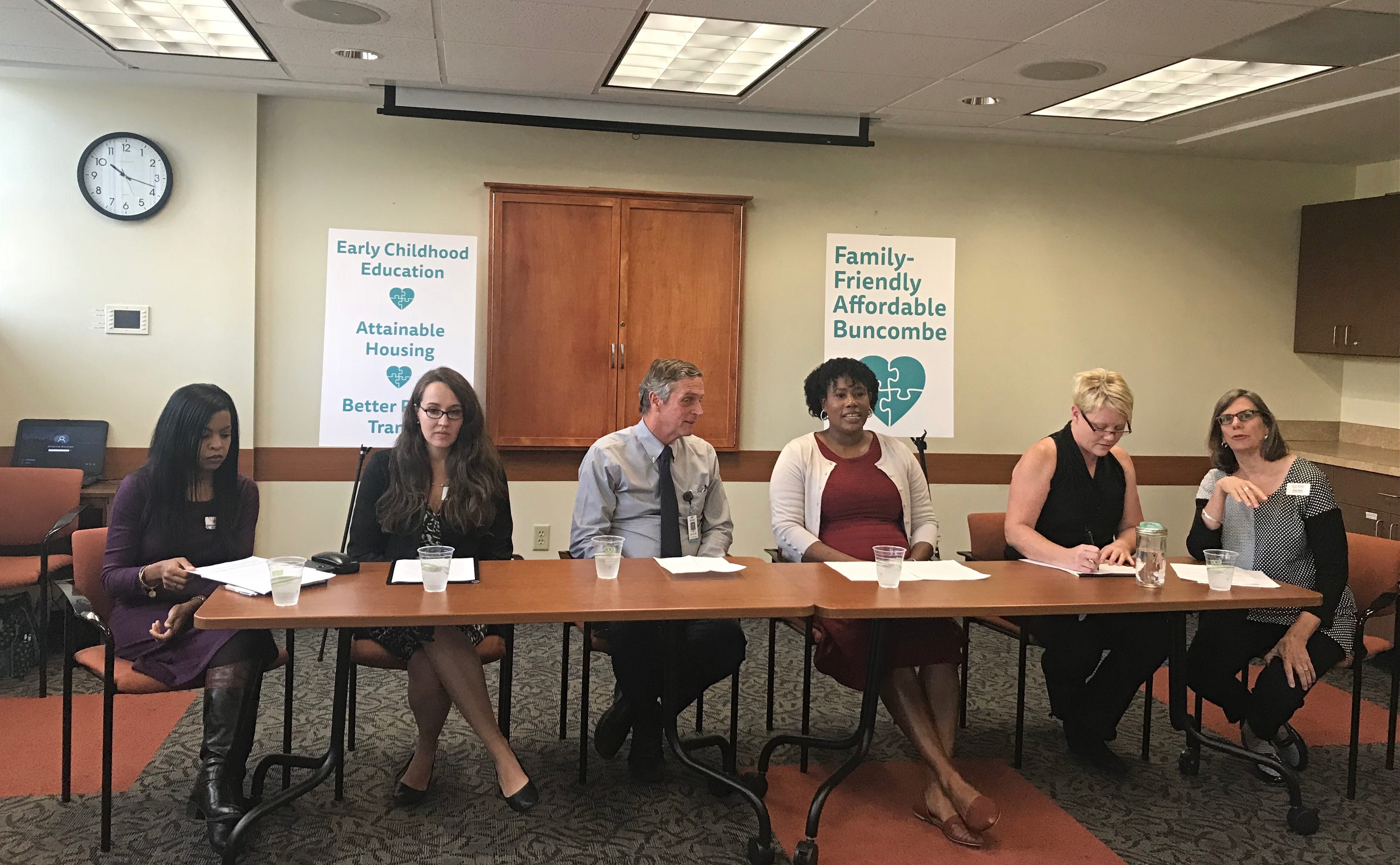 From left: Natasha Adwaters, executive director of Children First/Communities in Schools; Kaitlyn Guyer, enrollment coordinator at the Verner Center of Early Learning; MAHEC President and CEO Dr. Jeff Heck; Ebony Grayson Reece, an Asheville City Schools substitute teacher; Asheville resident Rachelle Sorensen-Cox; and Amy Barry, executive director of Buncombe Partnership for Children. The group advocated Monday Oct. 15 for funding for the newly formed Family-Friendly Affordable Buncombe initiative.