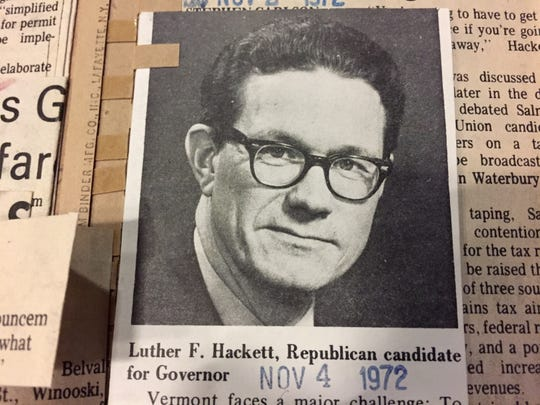 Luther Frederick Hackett, Republican candidate for governor, is pictured in Burlington Free Press coverage of the 1972 election.