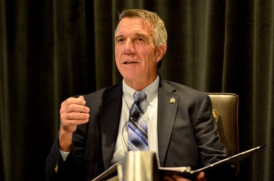 Gov. Phil Scott speaks at a candidate forum about child care on Oct. 11, 2018 in South Burlington. Scott announced that he would use sales tax revenue from online retailers to fund an expansion of the state child care subsidy.