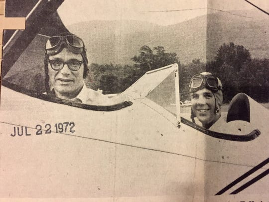 Luther Frederick Hackett, left, travels in a 1930 biplane during his Republican campaign for Vermont governor in 1972.
