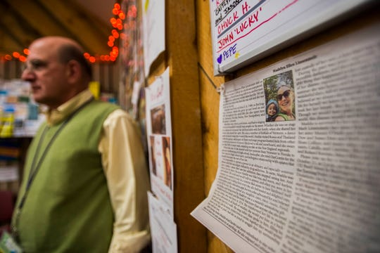 The obituary of Madelyn Ellen Linsenmeir of Burlington, who died Oct. 7 after struggling for years with opiate addiction, is displayed at the Turning Point Center in Burlington on Monday, Oct. 15, 2018. Executive Director Gary De Carolis says her family should be lauded for their transparency and courage in talking about Linsenmeir's struggles with opiates.
