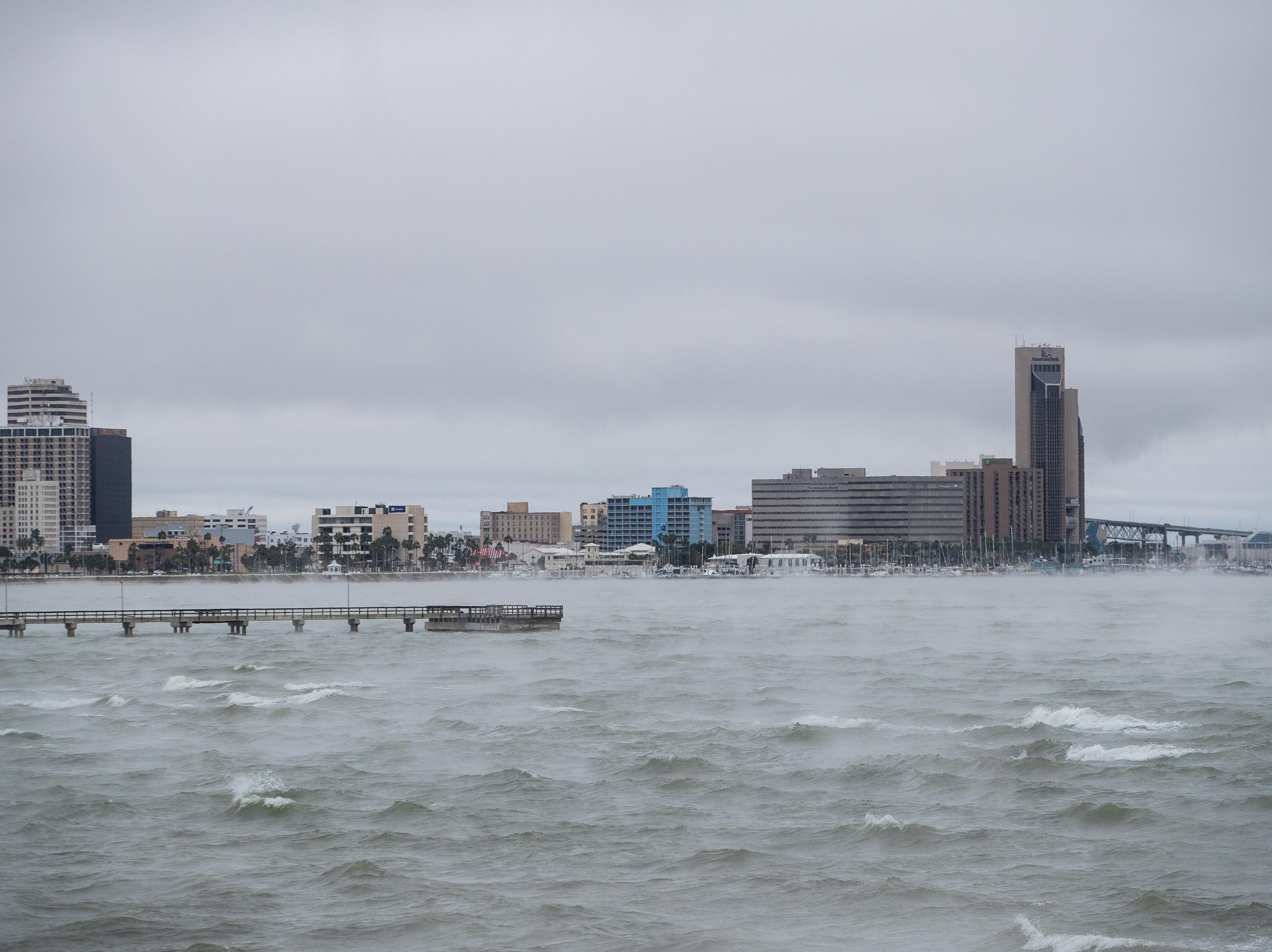 Corpus Christi Bay and downtown Corpus Christi as a cold front roles in to the Coastal Bend on Monday, Oct. 15, 2018