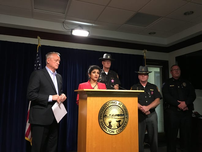 "Hamilton County officials including Prosecutor Joe Deters, Coroner Dr. Lakshmi Sammarco and Sheriff Jim Neil, a Republican and two Democrats, said Monday at a news conference that they oppose Issue 1, a ballot proposal aimed at reducing the state's prison population. They said its effects would be ""disastrous."""