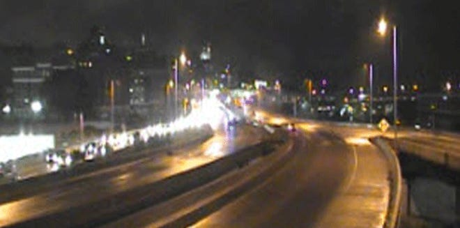 Westbound U.S. 50 is closed between Third Street and Interstate 71.