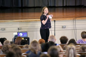Chelsea Clinton, who was in Cincinnati for a book signing at Joseph Beth Booksellers in Norwood, visited Colerain Elementary School on Monday.