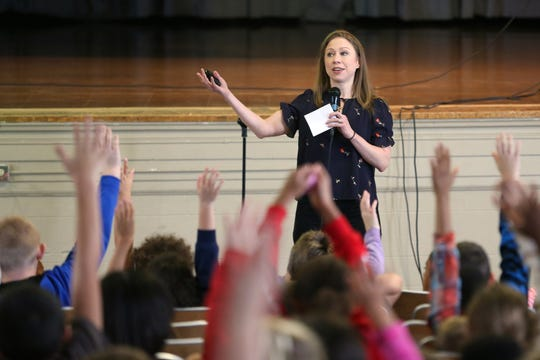 Chelsea Clinton, the daughter of Bill and Hillary Clinton, speaks to a group of Colerain Elementary students, Monday, Oct. 15, 2018, at Colerain Elementary School in Colerain Township.