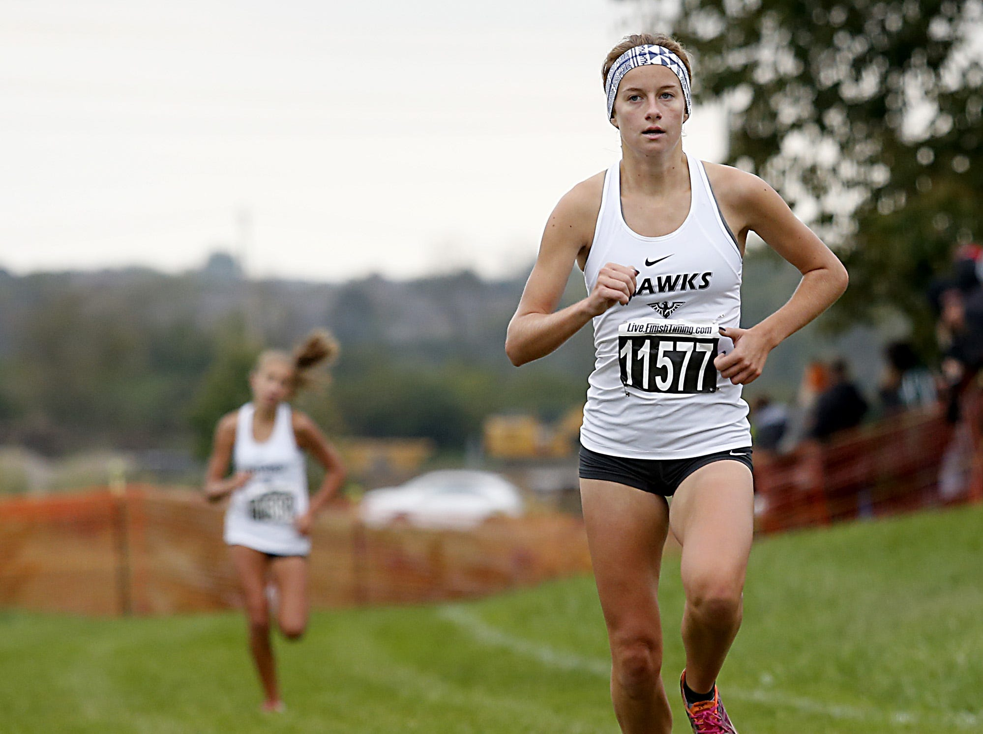 Ali Neumeier of Lakota East places sixth during the Greater Miami Conference Girls and Boys Cross Country Championships at Voice of America Park in West Chester Saturday, Oct. 13, 2018.