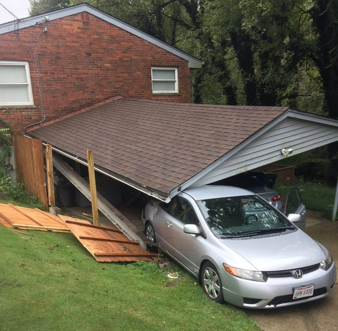 A car crashed into a carport attached to a residence on Delhi Road Oct. 15.