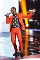 "Tyshawn Colquitt sings during the Blind Auditions on ""The Voice."""