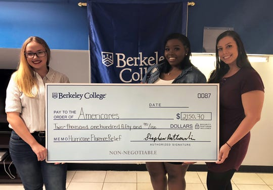 Berkeley College recently donated $2,150.70 to Americares, a disaster relief and global health organization, for Hurricane Florence relief efforts. Donations were matched by the Larry L. Luing Family Foundation, for a total of $4,301.40. The mission of Americares is to saves lives and improve health for people affected by poverty or disaster. In addition to online donations, Berkeley College students rallied around the effort, holding bake sales and other fundraising events. During the storm, Americares teams delivered shipments of health and hygiene supplies to shelters, health clinics and nonprofit partners in the Carolinas. The organization is now focused on long-term recovery in the region. Pictured (L to R) are Hailee Vanslyke of Elizabeth, NJ; Shaiasia Boyd-Dorchy of South Amboy, NJ; and Miranda Crum of Ewing, NJ, Student Government Association members at Berkeley College in Woodbridge, with the Berkeley College donation to Americares.