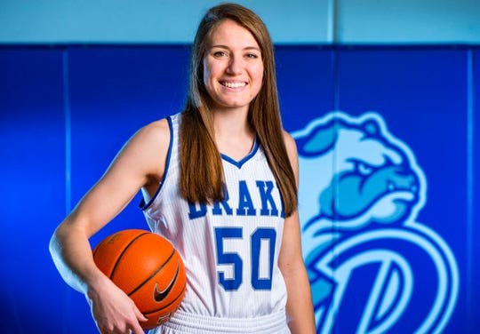 Sara Rhine during Drake women's basketball media day Monday, Oct. 15, 2018, in Des Moines.
