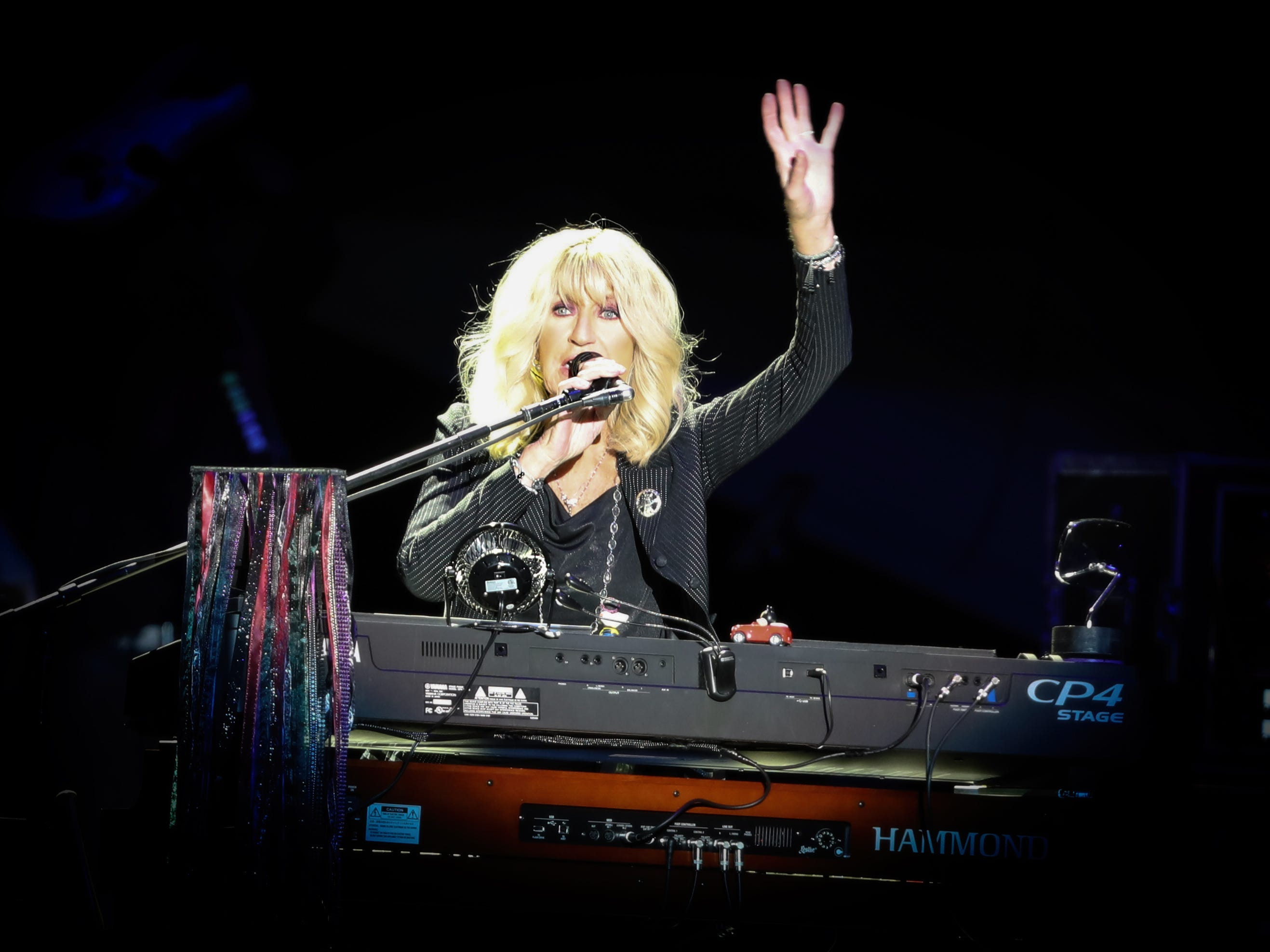 Christine McVie of Fleetwood Mac performs at Wells Fargo Arena in Des Moines, Iowa on Oct. 14, 2018.