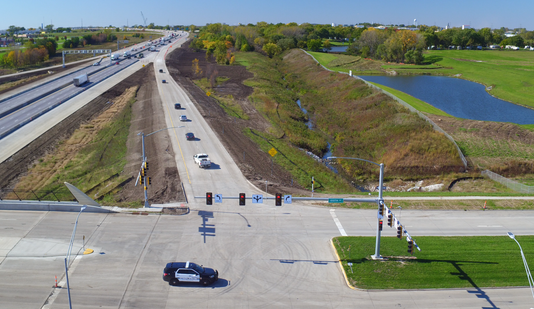 Aerial Drone Footage Of The First Vehicles Using The New 100th Street Westbound Ramps