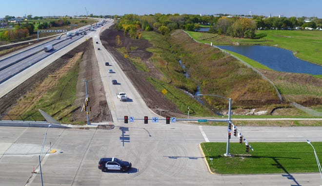 Drone footage shows the first vehicles using the new ramps at the Interstate-35/80 interchange in Urbandale on Oct. 15, 2018.