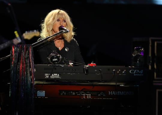 Christine McVie of Fleetwood Mac performs at Wells Fargo Arena in Des Moines, Iowa, on Oct. 14, 2018.