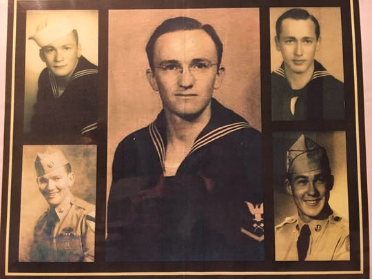 Five of the six Kvidera brothers served in the military. William, center, and James, upper right, served in World War II, while John, lower right, Ralph, upper left, and Chuck served during the Korean War.