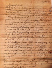 A page of the letter that William Kvidera wrote this letter to his mother 12 days before he died at Pearl Harbor.