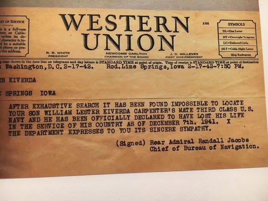The telegram that informed family of the death of William Kvidera.