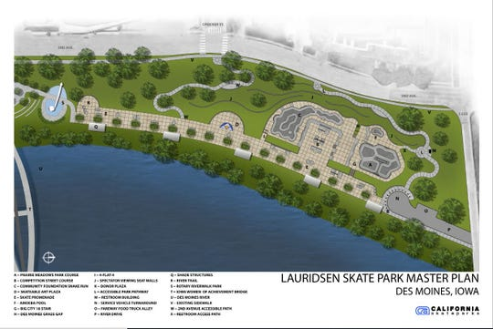 A master plan for the Lauridsen Skatepark along the Des Moines River.