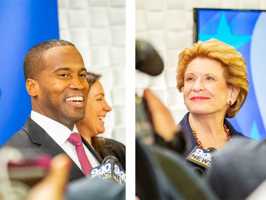 Republican businessman John James and Democratic U.S. Sen. Debbie Stabenow at Grand Valley State University on Sunday, Oct. 14, 2018.